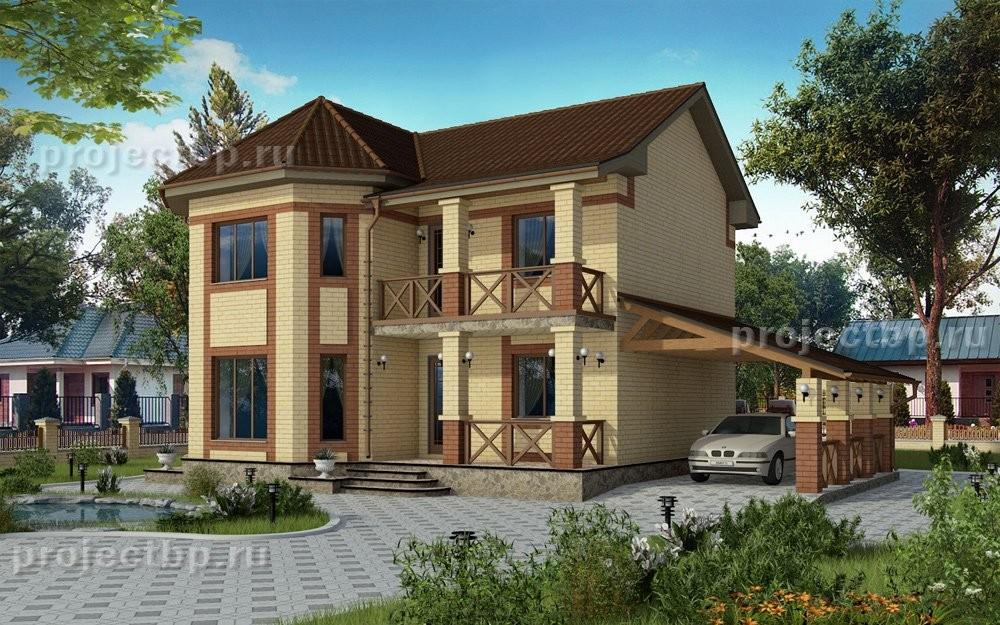 Проект двухэтажного дома с навесом для машины и балконом D-122